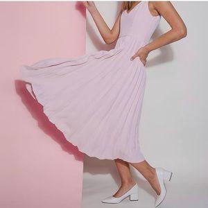 Pink pleated dress XS
